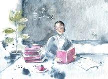 Zeichnung mit dem Aquarell, das einen Lehrer, Tafel, Klasse, Schulbedarf darstellt F?r Plakatentwurf Plakat, Fahne, Hintergr?nde lizenzfreie abbildung
