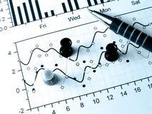 Zeichnung-Stifte und Feder (im Blau) Lizenzfreies Stockfoto