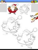 Zeichnung und Farbtonarbeitsblatt mit Santa Claus stockfotos