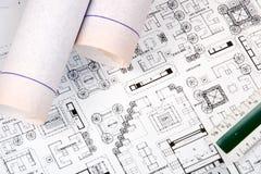 Zeichnung und Pläne des Architekten Lizenzfreie Stockbilder