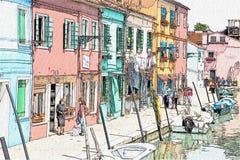 Zeichnung von Burano-Insel, Venedig, Italien stock abbildung