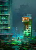 Zeichnung von Cyberpunk, die Nachtstadt der zukünftigen Utopie Lizenzfreie Abbildung