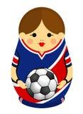 Zeichnung von einem Matryoshka mit Farben der Flagge von Costa Rica einen Fußball in ihren Händen halten Russische Verschachtelun stockfotos