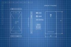 Zeichnung von Entwurf Smartphone Telefon in den verschiedenen Ansichten Stockbilder