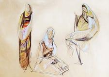 Zeichnung von Frauen in Balkan-Kleidung Lizenzfreie Stockfotos