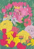 Zeichnung von hellen schönen Gartenblumen Stockfotos