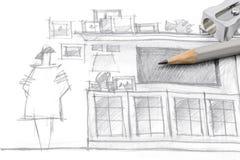 Zeichnung von modernen Wohnzimmermöbeln, mit Bleistift und Bleistiftspitzer Lizenzfreie Stockfotografie