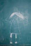 Zeichnung von Prinzessin auf Tafel durch Kind lizenzfreie stockbilder