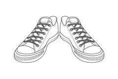 Zeichnung von Sportschuhen einfache Schuhe der Jugend Lizenzfreie Stockfotografie
