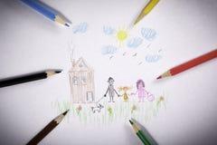 Zeichnung zeichnet Familie an Lizenzfreie Stockfotos