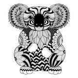Zeichnung zentangle Koala für Färbungsseite, Hemddesigneffekt, Logo, Tätowierung und Dekoration Stockbilder