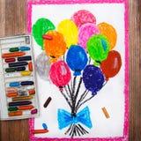 Zeichnungen: bunte Ballone Stockbild