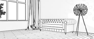 Zeichnungen des Innenraums Wiedergabe 3d Lizenzfreie Stockfotos