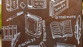 Zeichnungen eigenhändig auf dem Thema von Büchern Stockbild