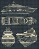 Zeichnungen einer modernen Yacht vektor abbildung