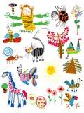 Die Zeichnungen der Kinder stockbilder