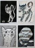Zeichnungen und Malereien von Katzen von Kindern Lizenzfreies Stockbild