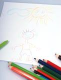 Zeichnungen und Zeichenstifte Stockbild