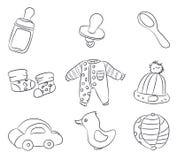 Zeichnungen von Kind-` s Sachen, Linien, Vektor Stockfoto