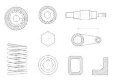 Zeichnungen von mechanischen Teilen stock abbildung