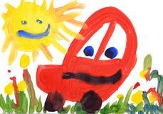 Zeichnungs-Aquarell der Kinder. Auto und Sonne. Lizenzfreie Stockfotos