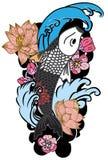 Zeichnungs-Koi Carp Japanese-Tätowierungsart Stockbilder