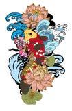Zeichnungs-Koi Carp Japanese-Tätowierungsart Stockbild