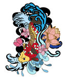 Zeichnungs-Koi Carp Japanese-Tätowierungsart Lizenzfreie Stockfotos