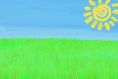 Zeichnungs-Landschaft des Kindes Stockbild