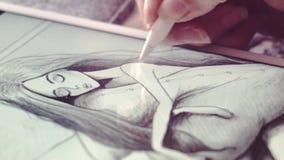Zeichnungs-Morgen in einer Nahaufnahme stock video footage