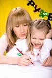 Zeichnungs-Schulmädchen Lizenzfreie Stockbilder