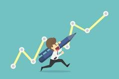Zeichnungs-Wachstumspfeil des Geschäftsmannes laufender Geschäftsjungekarikatur Lizenzfreies Stockfoto