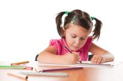 Zeichnungsabbildungen des kleinen Mädchens stockbilder