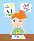 Zeichnungsabbildungen des kleinen Mädchens stock abbildung
