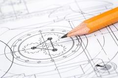 Zeichnungsdetail und -bleistift Lizenzfreie Stockfotos