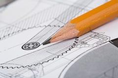 Zeichnungsdetail und -bleistift Stockfotografie