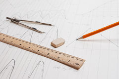 Zeichnungsdetail und Ziehwerkzeuge Lizenzfreie Stockfotos