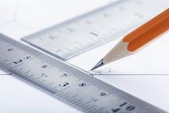 Zeichnungsdetail, Ziehwerkzeuge und Technikentwurf Design und Architektur lizenzfreies stockbild