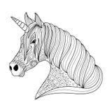 Zeichnungseinhorn zentangle Art für Erwachsenen und Kindermalbuch, Tätowierung, Hemddesign, Logo, Zeichen stylized Lizenzfreie Stockbilder