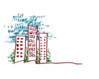 Zeichnungsgebäude Stockbild