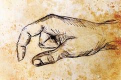 Zeichnungshand, Bleistiftskizze auf Papier, Sepia und Weinleseeffekt Stockfoto