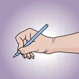 Zeichnungshand mit Bleistift Illustration in der komischen Art der Pop-Art lizenzfreie abbildung