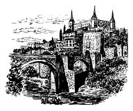 Zeichnungshintergrund-Landschaftsansicht von Toledo, Spanien Stockbilder