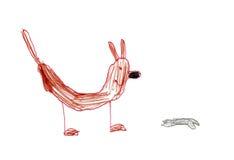 Zeichnungshund der Kinder Stockfoto