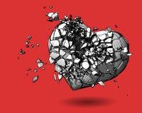 Zeichnungsillustration des defekten Herzens auf rotem BG Stockfotos