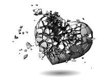 Zeichnungsillustration des defekten Herzens auf weißem BG Lizenzfreies Stockfoto