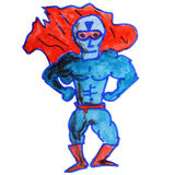 Zeichnungskinderaquarell Supermannkarikatur auf a Stockfotografie