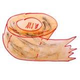 Zeichnungskinderaquarellpapier, Toilettenkarikatur auf einem weißen BAC Stockfotos