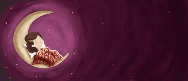 Zeichnungsmädchen, das, träumend nachts auf dem Mond schläft horizontal Lizenzfreies Stockbild
