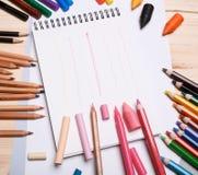 Zeichnungsmaterialien Stockfoto